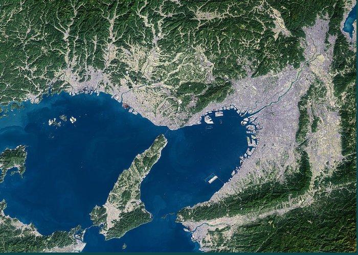 Osaka Greeting Card featuring the photograph Osaka, Satellite Image by Planetobserver