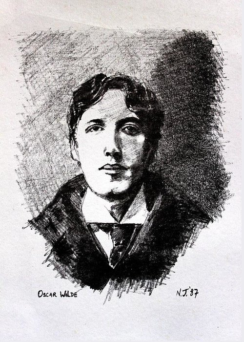Pencil Greeting Card featuring the drawing Oscar Wilde by John Nolan