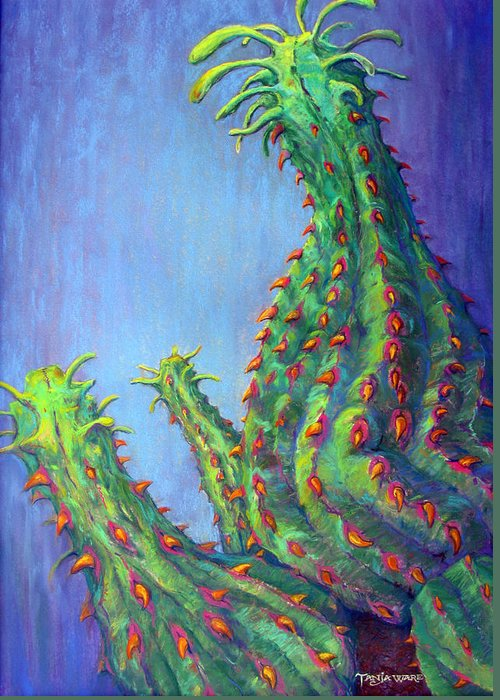 Cactus Greeting Card featuring the pastel Ouch by Tanja Ware