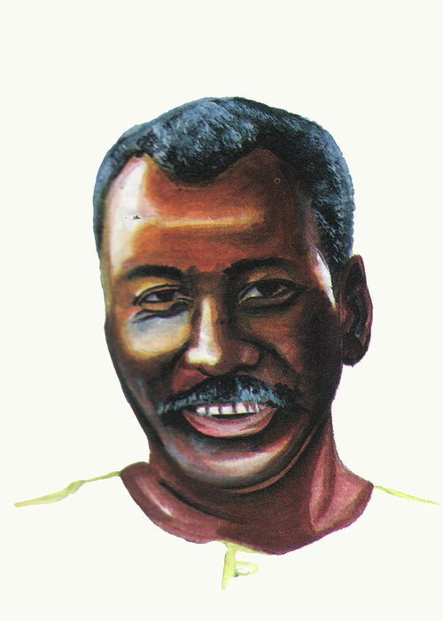 Portraits Greeting Card featuring the painting Oumar Souleymane Cisse by Emmanuel Baliyanga