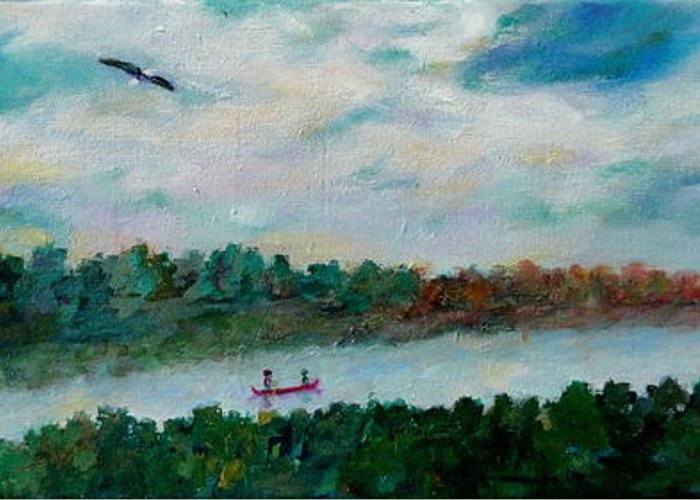 Lakeside Greeting Card featuring the painting Our Amazing Lake by Naomi Gerrard