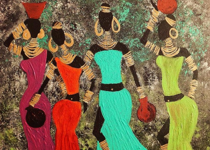 Tribe Greeting Card featuring the painting Out Of Africa by Anuradha Mukherji