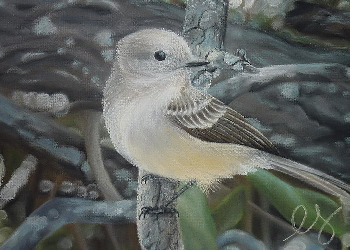 Birds Greeting Card featuring the pastel Out On A Limb by Estephy Sabin Figueroa