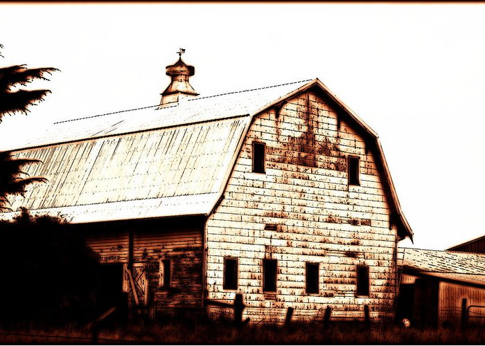 Barn Greeting Card featuring the digital art Out West by Kathy Sampson