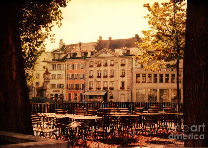 Lucerne Greeting Card featuring the photograph Outdoor Cafe In Lucerne Switzerland by Susanne Van Hulst