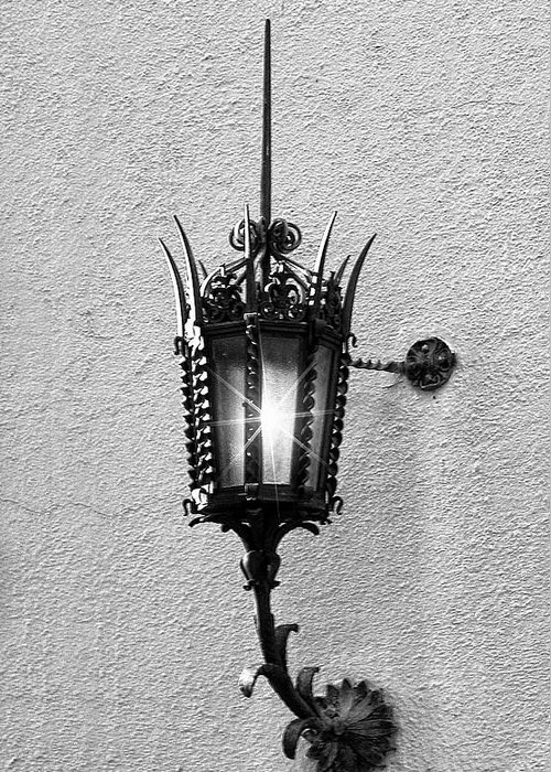 Lighting Greeting Card featuring the photograph Outdoor Wall Lamp Bw by Linda Phelps