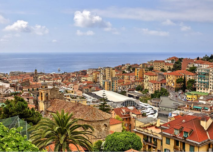 San Remo Greeting Card featuring the photograph Over The Roofs Of Sanremo by Joana Kruse