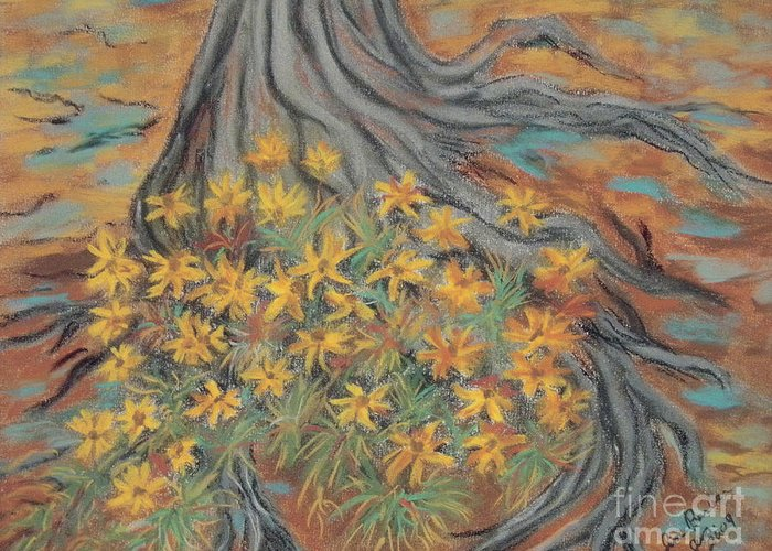 Impressionistic Greeting Card featuring the painting Over The Roots by Jim Barber Hove