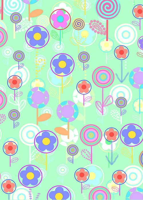 Louisa Greeting Card featuring the digital art Overlayer Flowers by Louisa Knight