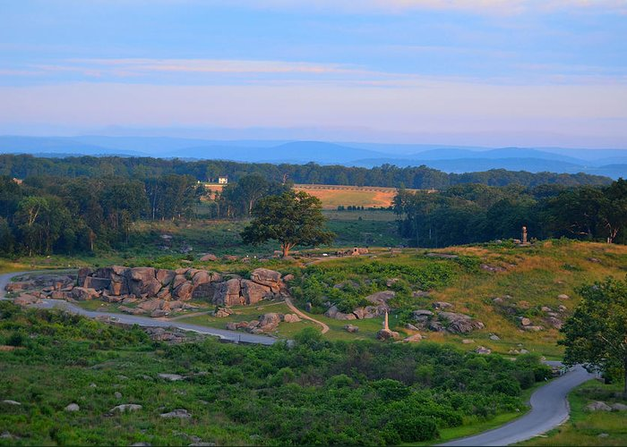 Battlefield Greeting Card featuring the photograph Overlook Of The Gettysburg Battlefield by Dave Sandt