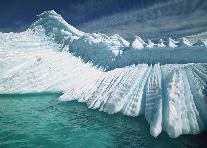 Hhh Greeting Card featuring the photograph Overturned Iceberg With Eroded Edges by Colin Monteath