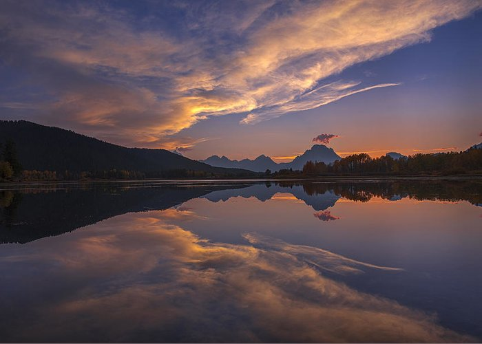 Ox Bow Bend Greeting Card featuring the photograph Ox Bow Bend Sunset by Joseph Rossbach
