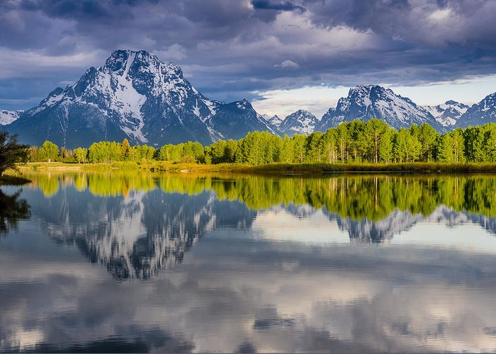 Grand Tetons National Park Greeting Card featuring the photograph Oxbow Light by Greg Nyquist
