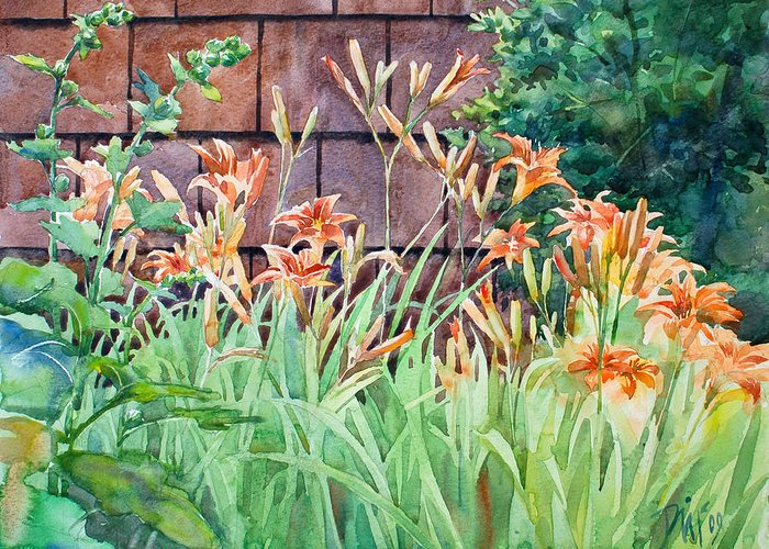 Greeting Card featuring the painting Oxenden Lilies by Peter Sit