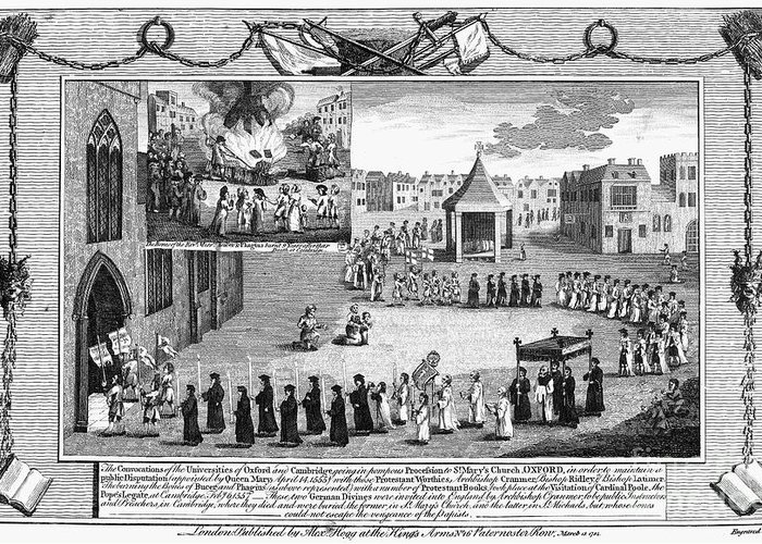 1555 Greeting Card featuring the photograph Oxford Martyrs, 1556 by Granger