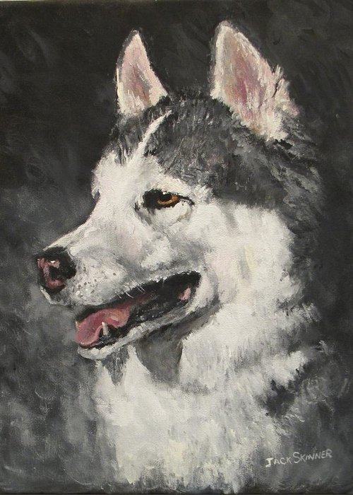 Dog Greeting Card featuring the painting Ozzie by Jack Skinner