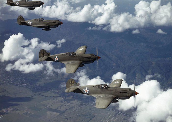 Day Greeting Card featuring the photograph P-40 Pursuits Of The U.s. Army Air by Luis Marden