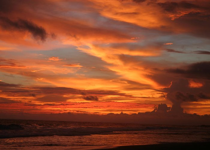 Sunset Greeting Card featuring the photograph Pacific Sunset Costa Rica by Michelle Wiarda-Constantine