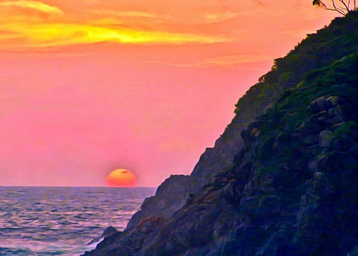 Beach Greeting Card featuring the painting Pacific Sunset by Bob and Nadine Johnston