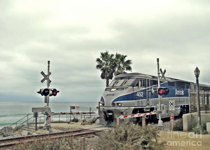 Pacific Surfliner Greeting Card featuring the photograph Pacific Surfliner Amtrak Train by Traci Lehman