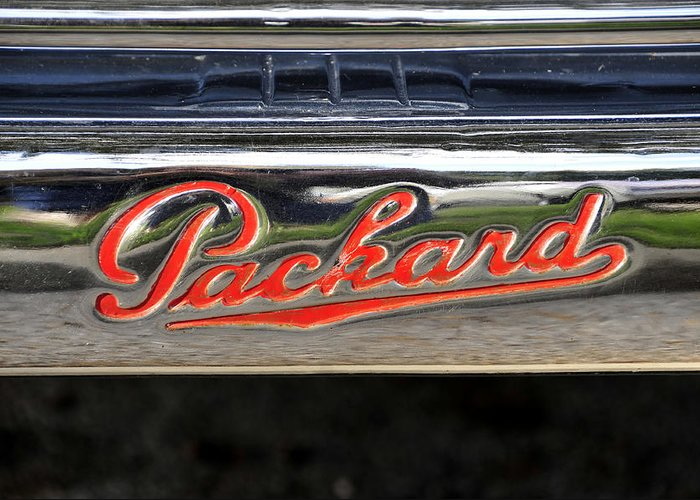 Fine Art Photography Greeting Card featuring the photograph Packard Name Plate by David Lee Thompson
