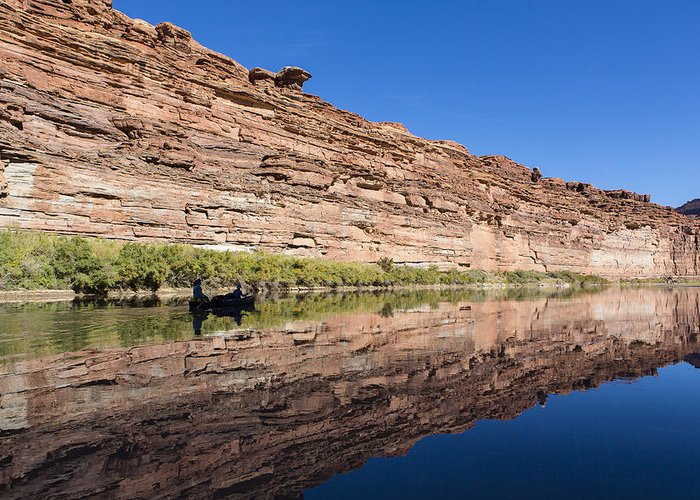 Arid Greeting Card featuring the photograph Paddling The Green River by Tim Grams