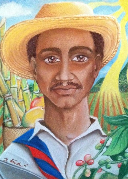 Farmer Greeting Card featuring the pastel Padre Tierra by Xiomara Aleksic