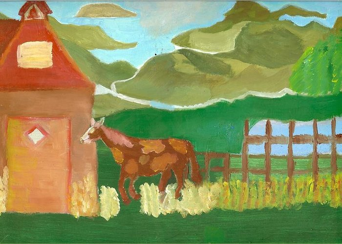 Red School House Greeting Card featuring the painting Paint Pony At Red Schoolhouse by Shannon SmithCumiford