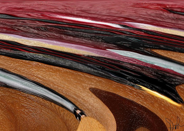 Red Greeting Card featuring the digital art Paint Strokes by Pam Gleichman