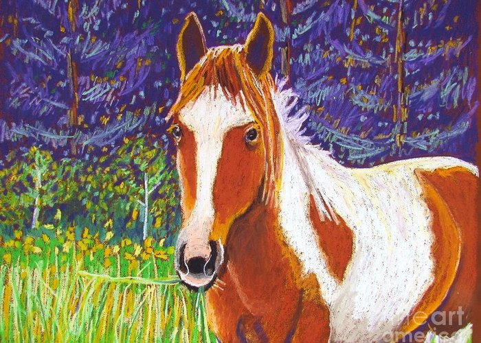 Horse Greeting Card featuring the pastel Paintchip by Harriet Peck Taylor