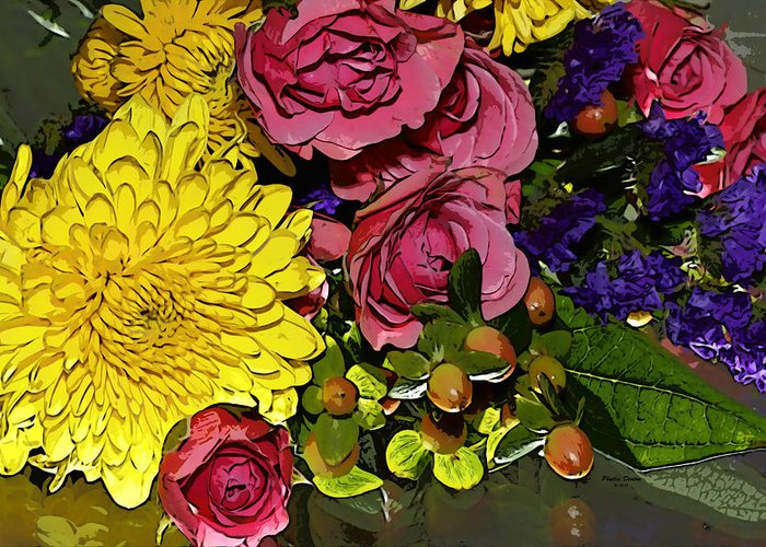 Flowers Greeting Card featuring the photograph Painted Bouquet by Phyllis Denton