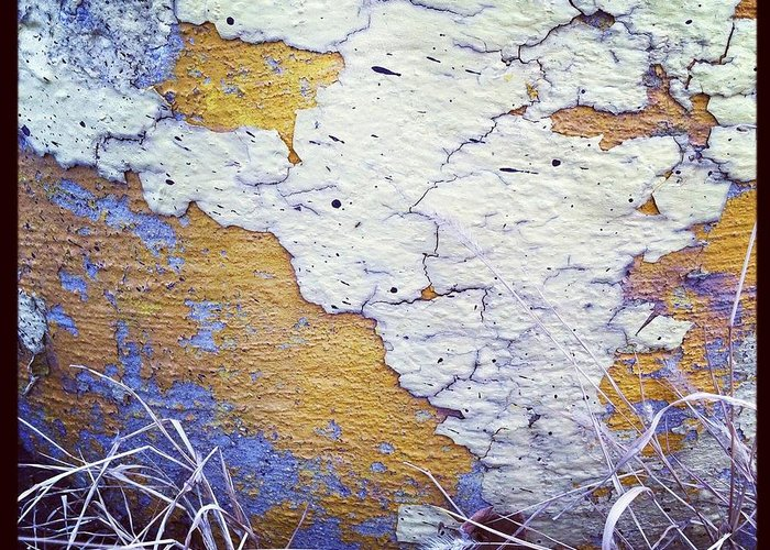 Chipping Paint Greeting Card featuring the photograph Painted Concrete Map by Anna Villarreal Garbis