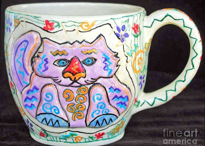 Cat Greeting Card featuring the photograph Painted Kitty Mug by Joyce Jackson
