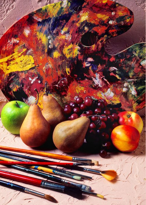 Painters Palette Brushes Fruit Greeting Card featuring the photograph Painters Palette by Garry Gay