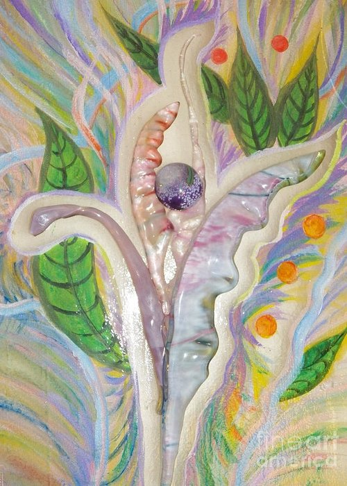 Flora And Fauna Greeting Card featuring the painting Painting And Fused Glass Flora by Judy Via-Wolff