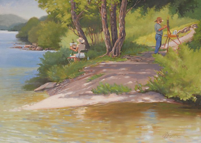 River Greeting Card featuring the painting Painting The River by Todd Baxter
