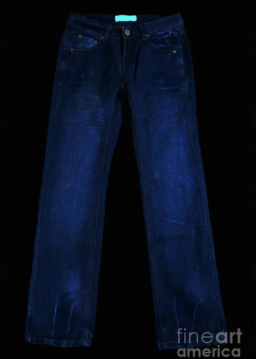 Blue Greeting Card featuring the photograph Pair Of Jeans 1 - Painterly by Wingsdomain Art and Photography