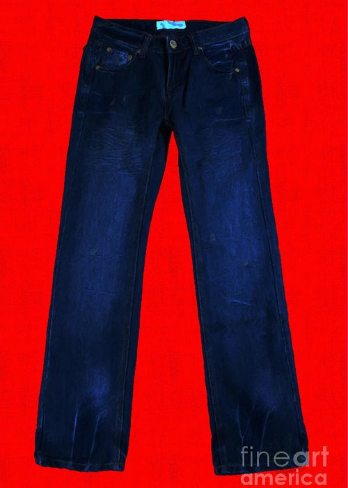 Blue Greeting Card featuring the photograph Pair Of Jeans 2 - Painterly by Wingsdomain Art and Photography