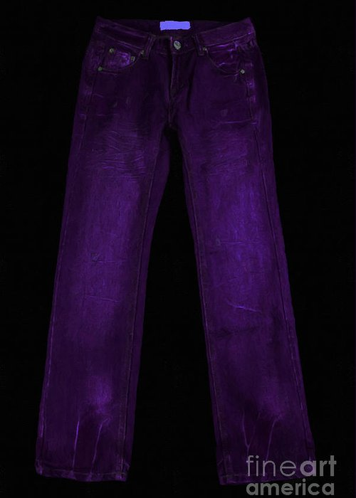 Purple Greeting Card featuring the photograph Pair Of Jeans 4 - Painterly by Wingsdomain Art and Photography