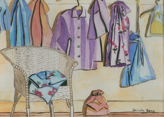Pajamas Greeting Card featuring the painting Pajamas by Jennifer Dewey