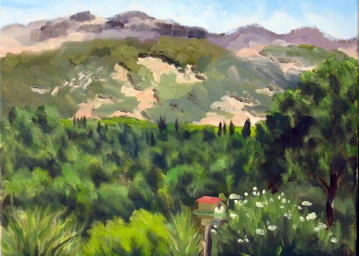 Calistoga Greeting Card featuring the painting Palisades From Lerne by Char Wood