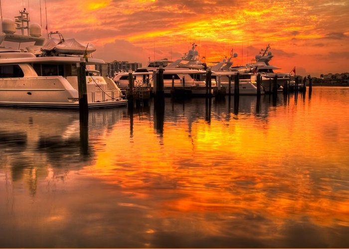 Boats Greeting Card featuring the photograph Palm Beach Harbor Glow by Debra and Dave Vanderlaan