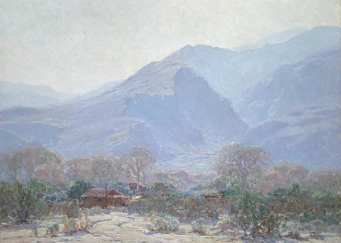 American Landscape; California; Californian; Mountains; Mountain Greeting Card featuring the painting Palm Springs Landscape With Shack by John Frost