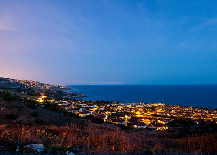 Palos Verdes Greeting Card featuring the photograph Palos Verdes City Lights by Adam Pender