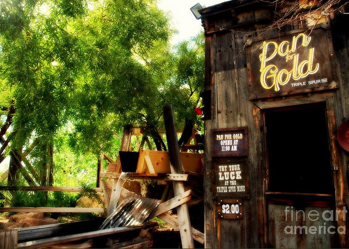 Pan For Gold Greeting Card featuring the photograph Pan For Gold In Old Tuscon Arizona by Susanne Van Hulst