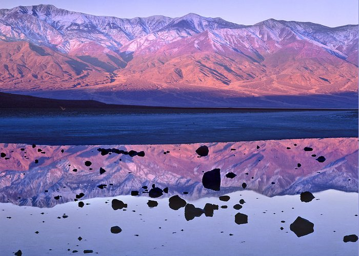 00175897 Greeting Card featuring the photograph Panamint Range Reflected In Standing by Tim Fitzharris