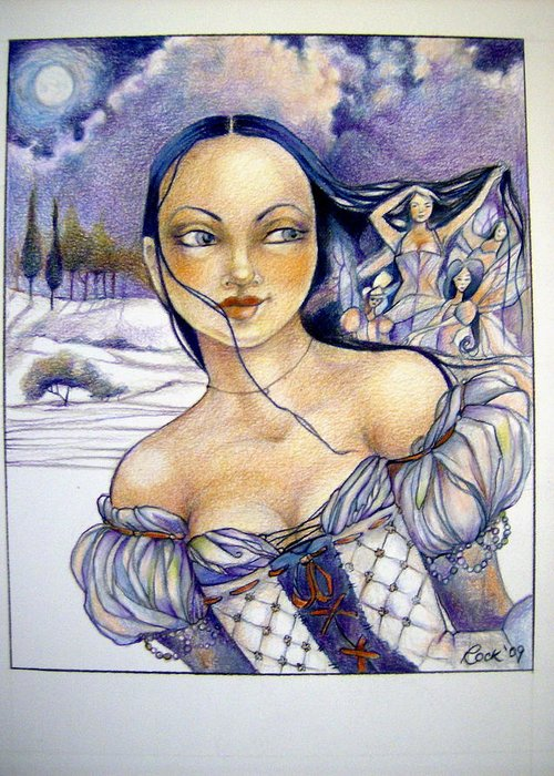 Moon Fairies Blue Snow Woman Drawings Greeting Cards