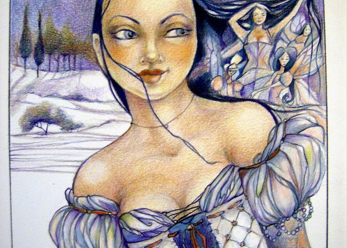 Moon Fairies Blue Snow Woman Greeting Card featuring the drawing Pandora by Jackie Rock