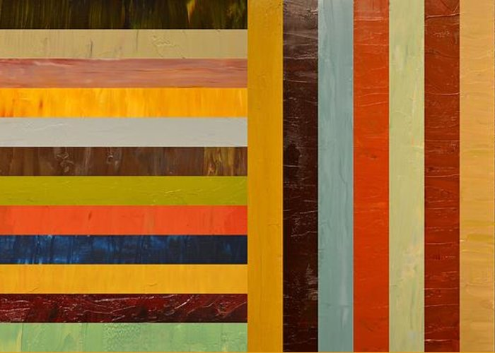 Abstract Greeting Card featuring the painting Panel Abstract - Digital Compilation by Michelle Calkins
