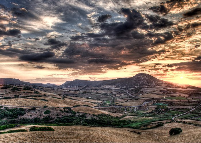 Sardegna Greeting Card featuring the photograph Panoramic Sunset by Andrea Barbieri